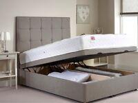 Brand New Kingsize Grey Fabric Bed with Memory Foam Mattress