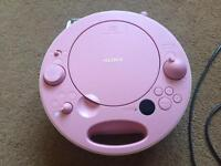Pink sony cd player