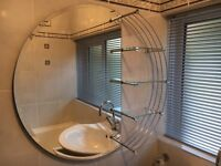 Stunning & Contemporary Large Round Glass and Chrome Bathroom Mirror incorporating 3 Glass Shelves