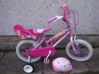 Girls bikes to suit age 3 to 5 years, 14 inch wheels £35 each Disney pricess and Hello Kitty