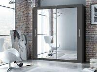 berlin 2-3 Door Sliding Full Mirror Wardrobe in 120,150,180 and 203 cm in Multiple Colors