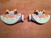 Two Noah's Ark finials- wooden, painted