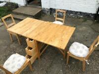 🚚🚚Foldable Table With Side Storag Small Drawer 4 chairs For Sale Great Condition Free Delivery✅✅✅