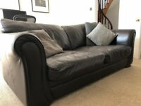 3 Seater Dark Brown Leather Sofa - Great Condition