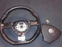 VW Flat Bottom Black Leather Steering wheel and airbag - DSG - Polo Golf Beetle
