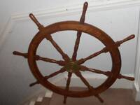 Large decorative wood & brass ships steering wheel