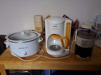 Kitchen essentials for sale - coffee maker, slow cooker, juicer