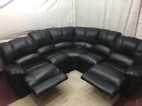 Black leather manual recliner Corner sofa excellent condition