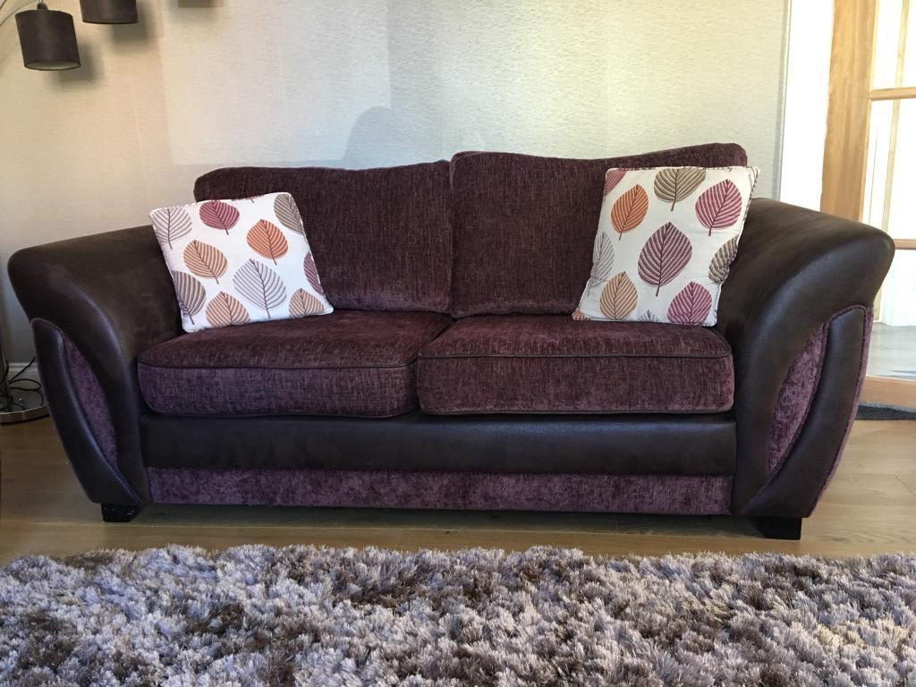 Reduced 2 X Brown Fabric Leather Mix 2 Seater Sofas In