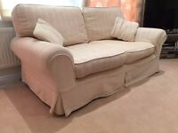 2 Identical comfy 2 seat sofas, Laura Ashley, cream with removable covers