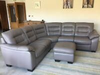 DFS Ripple Granite Leather Corner Sofa and Storage Pouffe