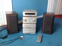 Technics (HD350) stacking system.(rose wood effect casing/ remote/ instructions)