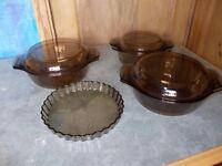 Pyrex amber casserole dishes & flan dish