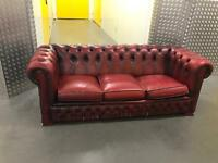 Ox blood chesterfield sofa, Free delivery