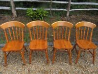SET OF 4 PINE KITCHEN / DINING CHAIRS. Delivery possible. ALSO :TABLE, MORE CHAIRS, PEWS & SETTLE.