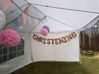 Christianing ballons and pomp poms