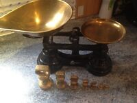 Librasco Vintage brass and iron weighing scales. Complete set of weighted