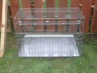 DOG CAGE LARGE WITH METAL TRAY £35 SLOPS TO FIT IN BOOT OF CAR