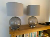 Pair of grey crackle table lamps originally from Next