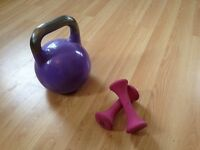 Kettle bell 8kg and 2 x 1.5kg Dumbells