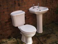 Sanitary ware, w.c and cistern, wash hand basin and stand, all taps and waste, also 2 radiators