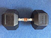 30kg Hex Rubber Dumbell