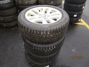 205/55R16 SET OF 4 USED BRIDGESTONE WINTER TIRES ON 3 SERIES BMW ALLOY RIMS