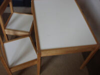 Ikea childrens's table with 2 chairs, white, pine