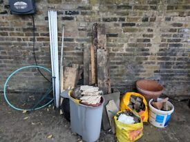 Garden waste, stones, timber, ceramics