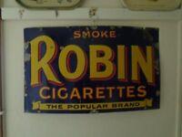 Genuine old enamel Robin's Cigarettes sign.