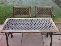 Cast iron table & 2 chairs
