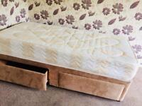 Single fawn colour suede divan bed with drawers..