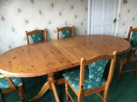 Extendable Pine dining table and 5 chairs