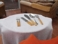 Antique EP Silver plated Fish Servers, bone handled. Come with fish knife and fork for two.
