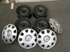 "Steel wheels 16"" Genuine Vauxhall 5x110 and Hub Caps"