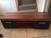 Tv stand bench walnut and black long bench