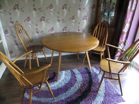 Ercol Quaker Drop leaf dining table and set of 5 chairs (2 are carvers)