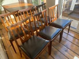 G Plan Brasilia Chairs with Black Vinyl Seat Pads