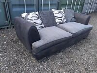 Black Grey Fabric Leather 3 Seater Sofa Suite Settee Delivery Available C020021