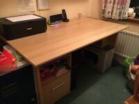 Beech effect desk and office chair
