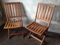 Garden Chairs as new PAIR - high quality, thicker wood than most lockable seats