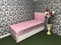 Girls Pink Heart Divan Bed Set with Sliding Door Storage, Mattress and Headboard. Brand New