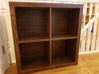 Wooden shelving unit, 4 box square shape