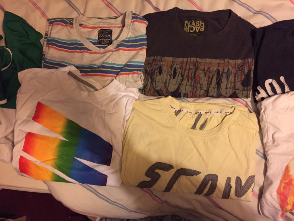 Size M Clothes bundle of 11 top brand T-shirts including HOLLISTER SUPERDRY FCUK & more