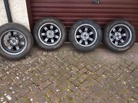 Brand New Unused Alloy wheels fitted with part worn tyres
