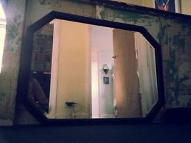 Large Vintage Style Mirror with Wooden Frame