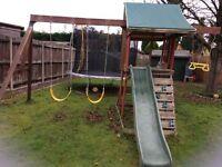 Children's Wooden Garden Double Swing & Slide Set