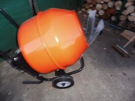NEW ELECTRIC CEMENT MIXER WITH STAND.