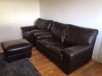 Brown leather 2 seater sofa, armchair and footstool with storage