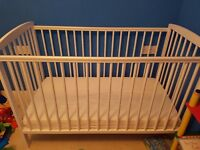 White cot with mattress perfect condition